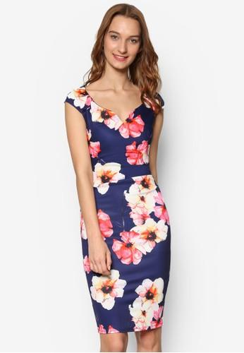 桃心領花卉印花及膝裙, 服飾,esprit招聘 洋裝