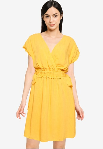 LC WAIKIKI yellow Gathered Waist Mini Dress D681DAAB24382EGS_1