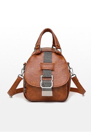 Lara brown Women's Punk Style Wear-resistant Cowhide Backpack - Brown 5CED8ACA531103GS_1