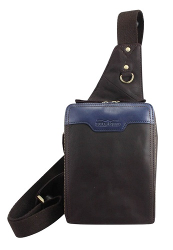 midzone blue and brown Genuine Leather Sling Bag MI949AC91WIMMY_1