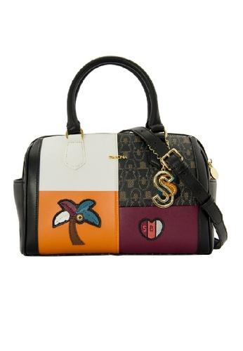 SEMBONIA brown SEMBONIA Coated Canvas Trimmed Microfiber Satchel Bag SE598AC0RHROMY_1