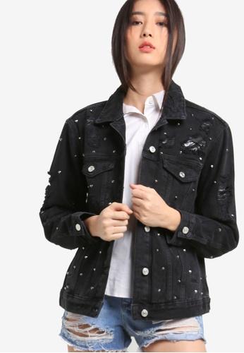 TOPSHOP black MOTO Studded Oversized Jacket TO412AA73RWSMY_1