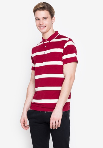 MICK + MARTY red Stripe Pocket Polo Shirt 3B743AA5CE4AF3GS_1