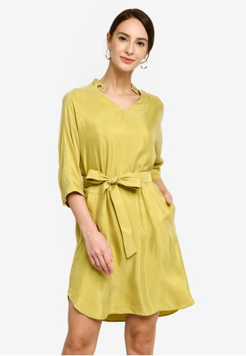 Hopeshow yellow A-Line Chiffon Mini Dress with Sash Belt 081DAAA9BF1DE9GS_1