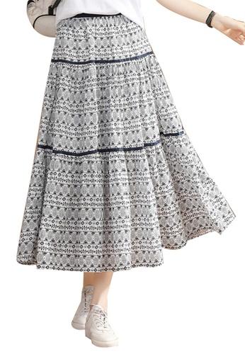 A-IN GIRLS white and navy Ethnic Print Skirt 877FDAA352B00BGS_1