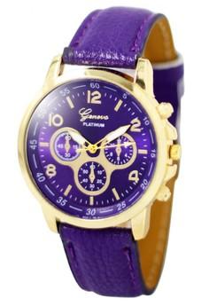 Geneva Sophie Purple Leather Strap Watch