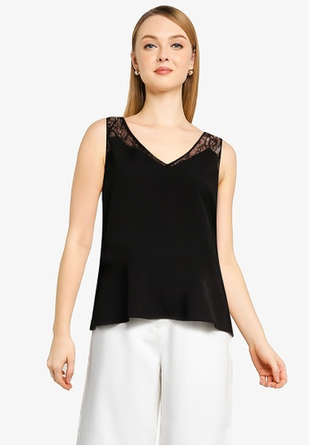 French Connection black Crepe Light Lace Trim Vest 2F4CEAA4261FEFGS_1