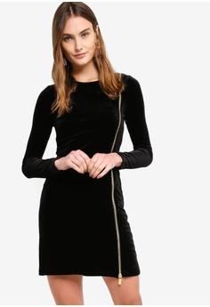 af7738133d5 French Connection black Zella Aurore Velvet Jersey Mini Dress  F9917AA11D57ACGS 1