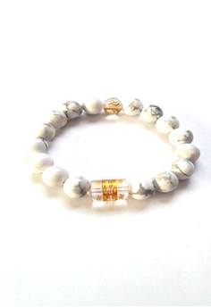 Feng Shui White Howlite with Protection Mantra Bracelet