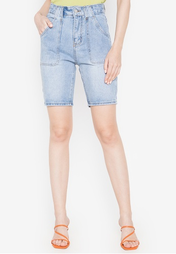 Spring Fling blue Denim Shorts with Front Pockets 220E9AACACC34EGS_1