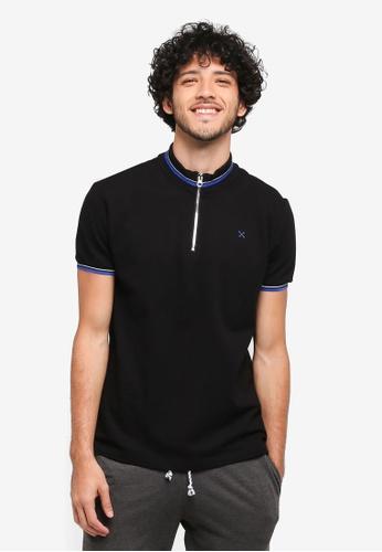 JAXON black Mock Neck Polo Shirt 57902AAED9905DGS_1