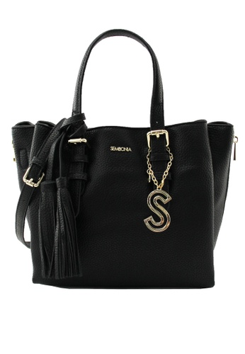 SEMBONIA black SEMBONIA Synthetic Leather Satchel Bag (Black) CADA8AC937F9B7GS_1