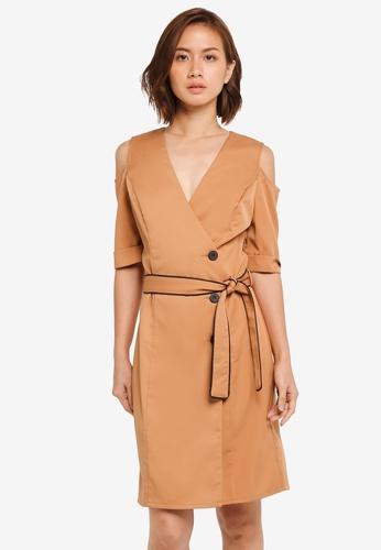 ZALORA brown Cold Shoulder Wrap Dress DA477AA9B3BAD8GS_1
