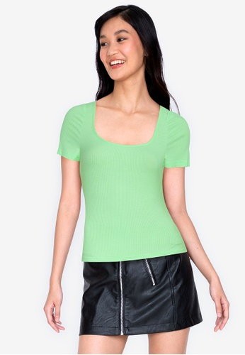 ZALORA BASICS green Cap Sleeve Ribbed Top CF9BAAAFD6A38DGS_1