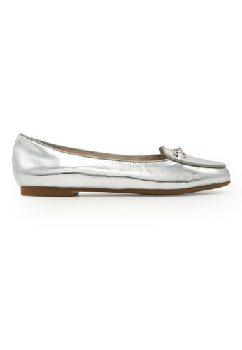 Gripz silver Desi Round Toe Penny Loafer flats 1C919SH11A1DFBGS_1