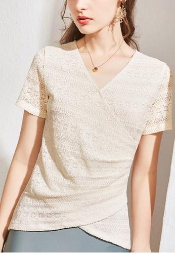HAPPY FRIDAYS beige Lace V-Neck Drape Blouse JW GW-J155 D5666AA19DA6B2GS_1