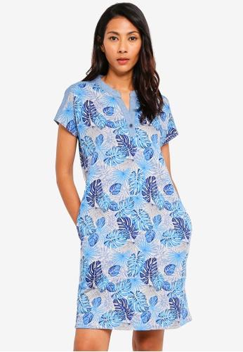 UniqTee blue Tropical Print Mixed Denim Dress 9D120AAF748AABGS_1