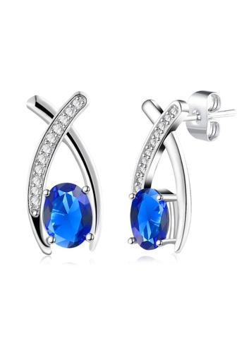 Kings Collection blue Cross Platinum Blue Crystal Earrings CA828AC20FB5BEGS_1