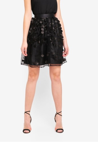 LOST INK black 3D Floral Skirt 71139AA94ACFEAGS_1