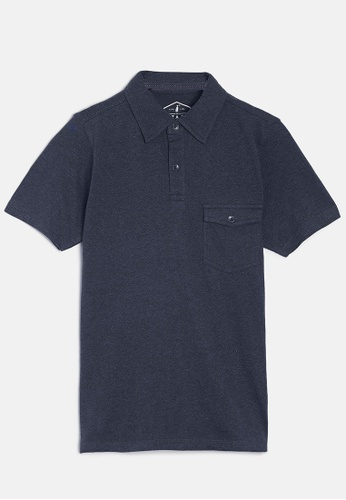 ZALZA navy Mike 100% Organic Cotton Boys Polo Tee - Shadow Blue 3C8A4KAC853C9DGS_1