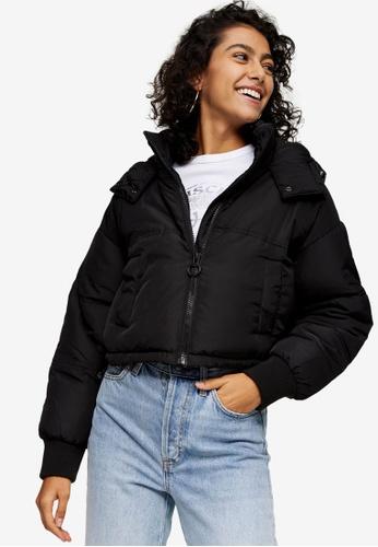 TOPSHOP black Black Cropped Padded Puffer Jacket D353DAA8DA2D5BGS_1