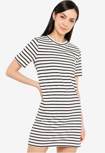 H&M white Cotton T-Shirt Dress B828CAA733F045GS_1