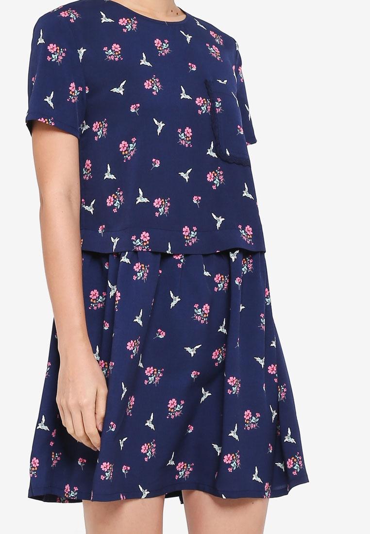 Boxy Dress ZALORA Floral Crewneck Print Navy HHqagnxrw