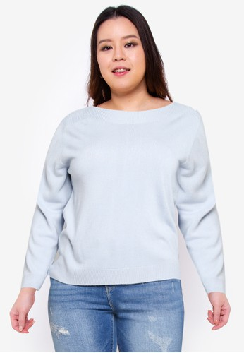 Only CARMAKOMA blue CARAMA L/S BOATNECK PULLOVER KNT 7BB7FAA2426531GS_1