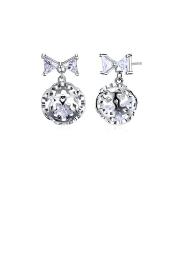Glamorousky white 925 Sterling Silver Romantic Elegant Exquisit Hollow Out Flower Ball and Bowknot Earrings and Ear Studs with Cubic Zircon 74F05ACD0C533FGS_1