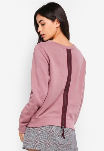 Abercrombie & Fitch pink Zipper Back Lace Crew Sweatshirt 067DFAA64A5C8AGS_1