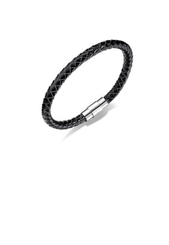 Glamorousky silver Simple Fashion Black Braided Leather Bracelet A0400AC04AF937GS_1