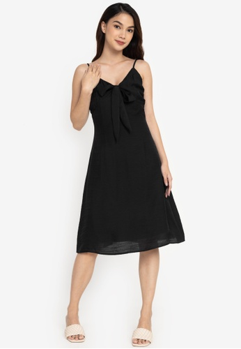 ZALORA BASICS black Tie Front Dress 7E1F2AAA4AAB35GS_1