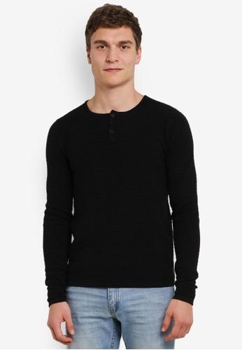 !Solid 黑色 Kam Ribbed 針織 毛衣 SO701AA0S2V1MY_1