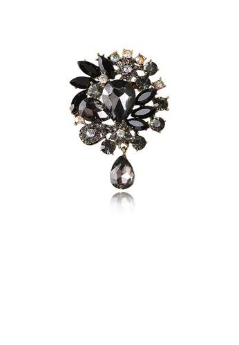 Glamorousky black Elegant and Bright Plated Gold Geometric Pattern Black Cubic Zirconia Brooch 43A78AC3F2F987GS_1