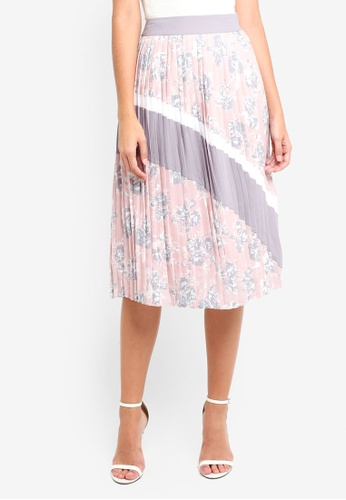 MDSCollections pink Delphine Pleated Skirt In Blush Floral 97460AAD5B3839GS_1