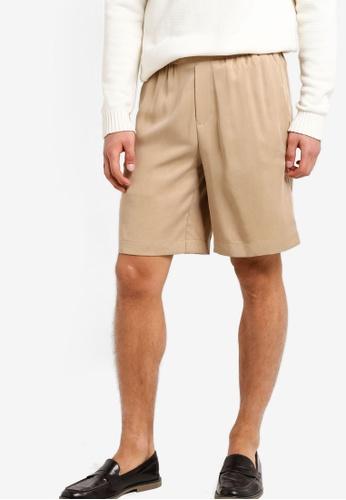 Topman beige Stone Tencel Long Length Shorts TO413AA69UPYMY_1