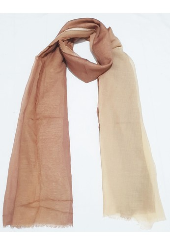 San Marco beige and brown Ombre PolyCotton Scarf Brown & Beige 3D41CAA11CC45EGS_1