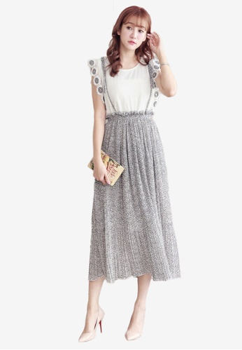 Yoco white Pleated Floral Pinafore Skirt CA8FDAA1B924E8GS_1