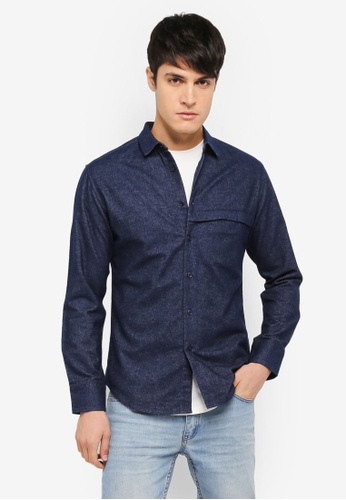 ZALORA navy Brushed Cotton Hidden Pocket Long Sleeve Shirt 322DCAA168F987GS_1