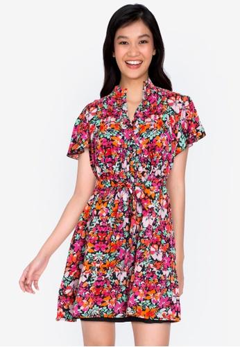 ZALORA BASICS multi Ruffle Sleeve Shirt Dress DCEE3AAB96472CGS_1