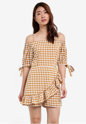 ZALORA beige Cold Shoulder Playsuit With Sleeve Tie 93A06AA9F8A672GS_1