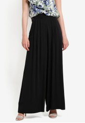 WAREHOUSE black Soft Pleat Wide Leg Trousers WA653AA90RQFMY_1