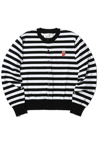 :CHOCOOLATE black Striped cardigan 0D6C3AA3FCF09AGS_1