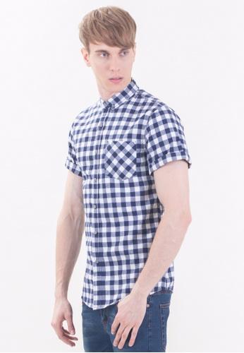 Drum Old School Short Sleeve Checkered Shirt-BLU DR425AA12RPJMY_1
