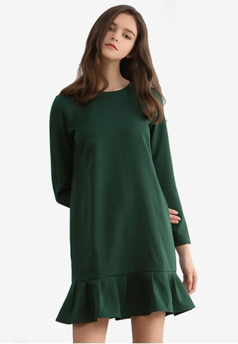 Kodz green Frill Hem Shift Dress 62A02AAE8F5F20GS_1