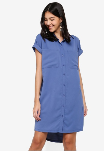 ZALORA blue Short Sleeves Pocket Shirt Dress 25C80AAD7B34B2GS_1