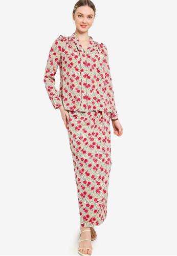 Lubna 白色 and 紅色 Printed Kebaya With Tulip Skirt BB118AAF877B9FGS_1