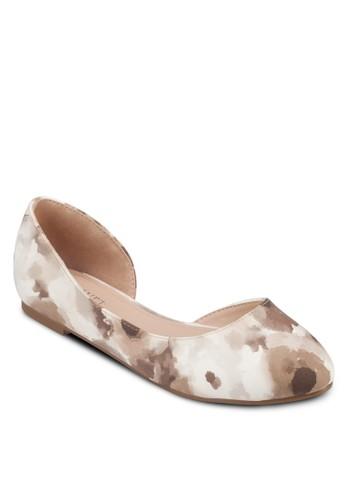 zalora 泳衣Josey 側鏤空印花平底鞋, 女鞋, 芭蕾平底鞋