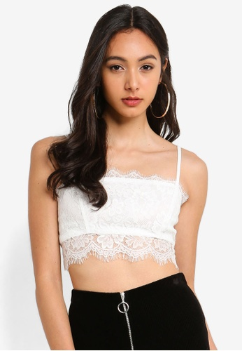 MISSGUIDED white Strappy Straight Neck Lace Bralet Top 4D8CAAA0C89965GS_1