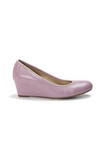 Shu Talk purple LeccaLecca Round Toe Leather Wedges 9B7E3SH722AB3DGS_1